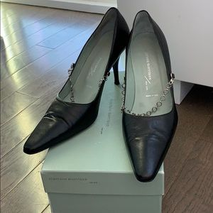 Sigerson Morrison black pumps with silver chain